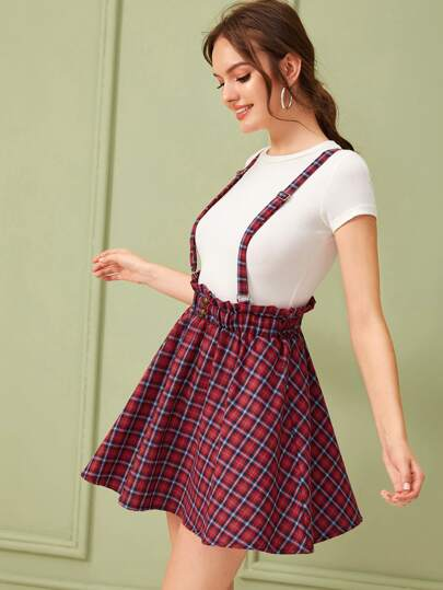 Frill Trim Button Tartan Skirt
