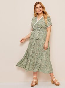 Plus Ditsy Floral Print Lace Trim Belted Dress