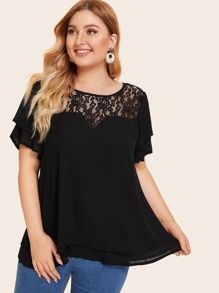 Plus Contrast Lace Solid Blouse