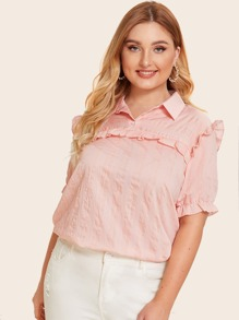 Plus Striped Frill Trim Flounce Sleeve Blouse