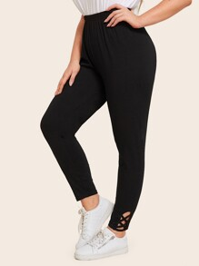 Plus Criss Cross Cuffed Solid Leggings