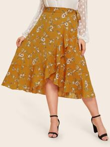 Plus Ditsy Floral Print Ruffle Trim Wrap Skirt