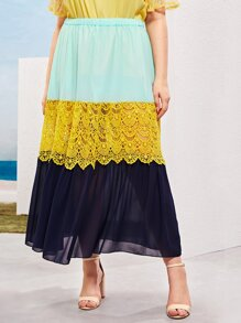 Plus Contrast Lace Color-block Skirt