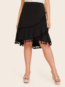 Plus Fringe Trim Ruffle Hem Skirt