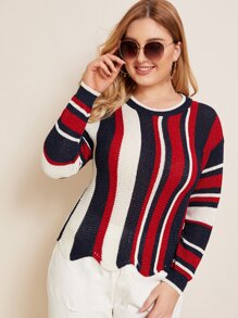 Plus Striped Scallop Trim Sweater