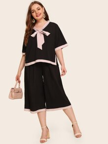Plus Contrast Binding Tie Neck Blouse & Pants