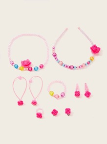 Girls Beaded Flower Decorated Jewelry Set 10pcs