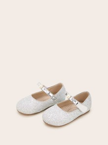 Baby Girls Faux Pearl Decor Glitter Flats