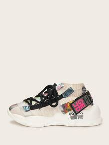 Random Letter Tape Lace-up Chunky Sole Trainers