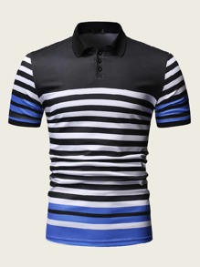 Men Striped Half Placket Polo Shirt