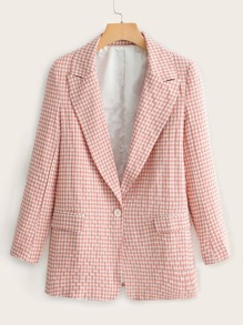 Gingham Single Button Notched Neck Blazer