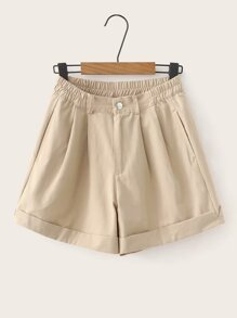 Button Waist Rolled Hem Shorts