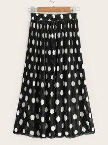 Elastic Waist Polka Dot Pleated Chiffon Skirt