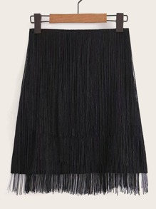 Solid Fringe Trim A-line Skirt