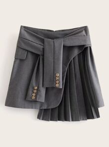 Tie Front Pleated Zip Back Skirt