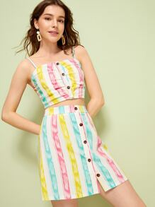 Colorful Striped Button Front Cami Top With Skirt