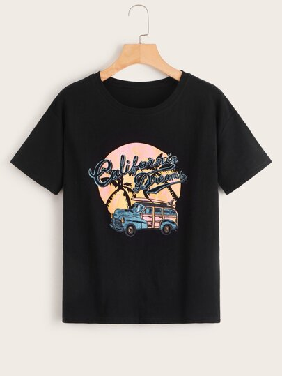 Letter And Car Graphic Tee