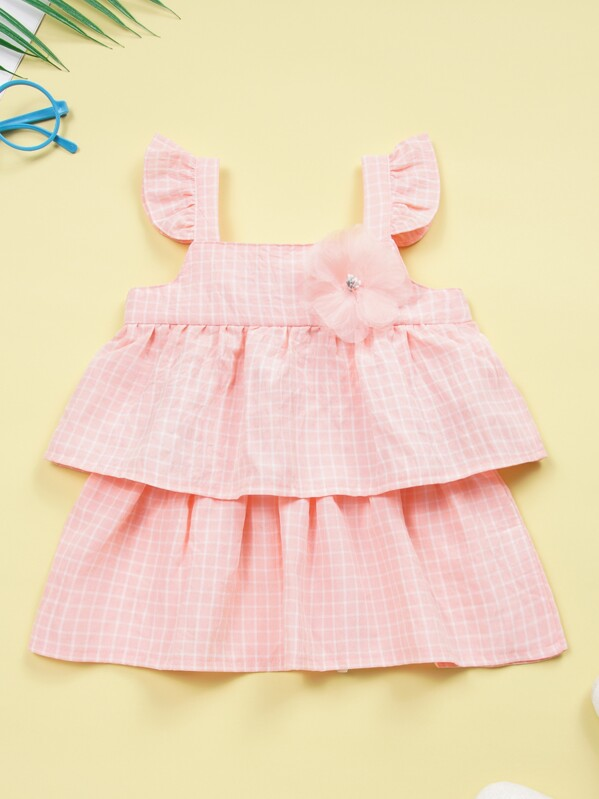 1f012f31be Baby Girl Appliques Tiered Layer Ruffle Grid Plaid Cami Dress