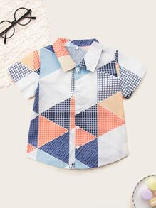 Toddler Boys Geo Print Curved Hem Shirt