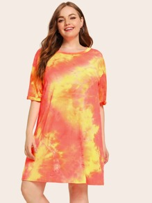 Plus Tie Dye Drop Shoulder T-shirt Dress