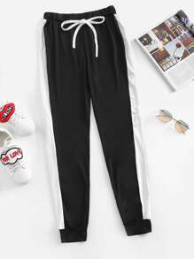 Plus Drawstring Waist Contrast Side Seam Sweatpants