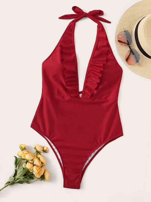 be2a3859e1 Ruffle Trim Halter One Piece Swimwear | SHEIN UK