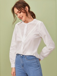 Contrast Eyelet Embroidery Button Front Blouse