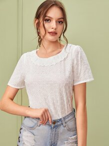 Eyelet Embroidery Ruffle Trim Blouse