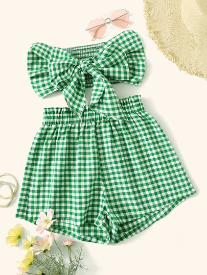 Gingham Print Knot Shirred Bandeau Top and Shorts Set