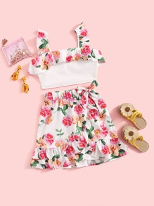 Girls Ruffle Trim Crop Top & Wrap Knot Skirt Set