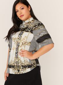 Plus Stand Collar Mixed Scarf Print Top