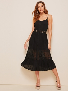 Button Front Lace Insert Slip Dress