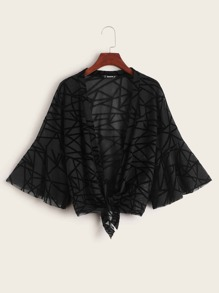 Bell Sleeve Knot Front Geo Mesh Kimono