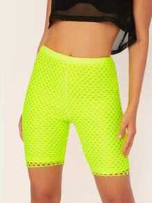 Neon Lime Fishnet Mesh Overlay Cycling Shorts