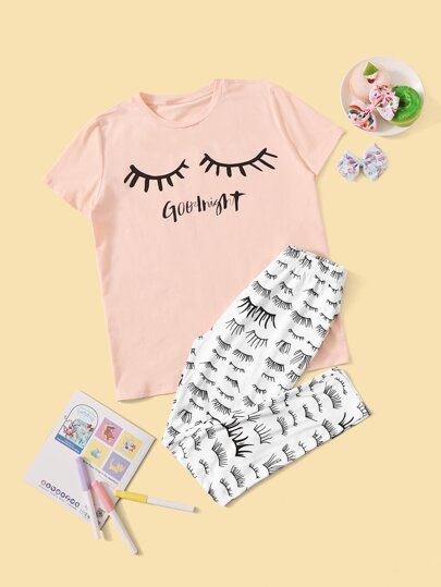 Girls Eyelash and Letter Graphic Tee and Pants PJ Set