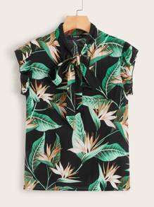 Tropical Print Tie Neck Ruffle Trim Top