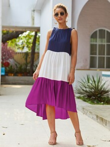 Colorblock Asymmetrical Hem Dress