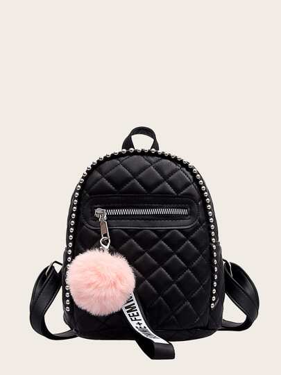 Pom Pom Decor Quilted Backpack