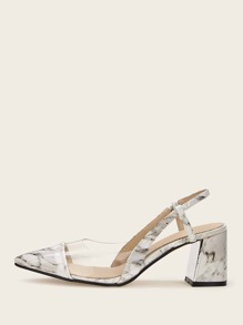 Marble Print Point Toe Chunky Heels
