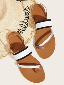 Toe Ring Striped Flat Sliders
