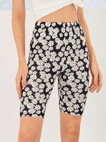 Allover Daisy Print Cycling Shorts