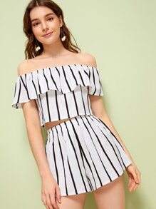 Striped Ruffle Trim Off Shoulder Top With Shorts