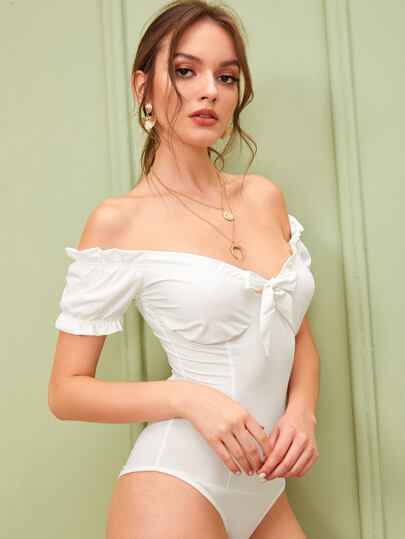 Lettuce Frill Tie Neck Off Shoulder Bodysuit