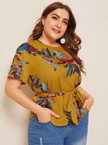 Plus Plants Print Knot Front Blouse