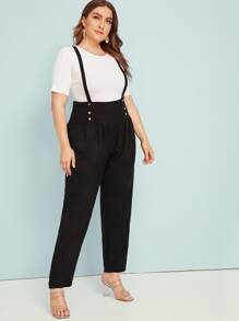 Plus Button Front Plicated Wide Band Pants