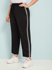 Plus Tape Contrast Drawstring Waist Pants