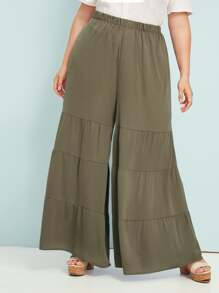 Plus Elastic Waist Layered Ruffle Hem Super Wide Leg Pants