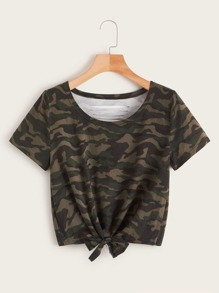 Camo Print Ripped Knot Front Tee
