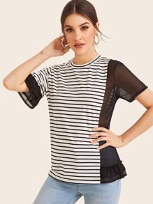 Striped Mesh Contrast Ruffle Trim Tee