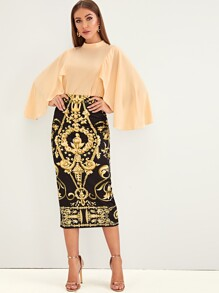 Solid Cloak Sleeve Top & Baroque Bodycon Skirt Set